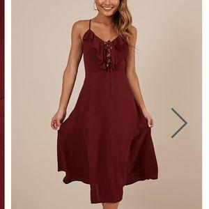 Think Quick Dress In Wine SHOWPO